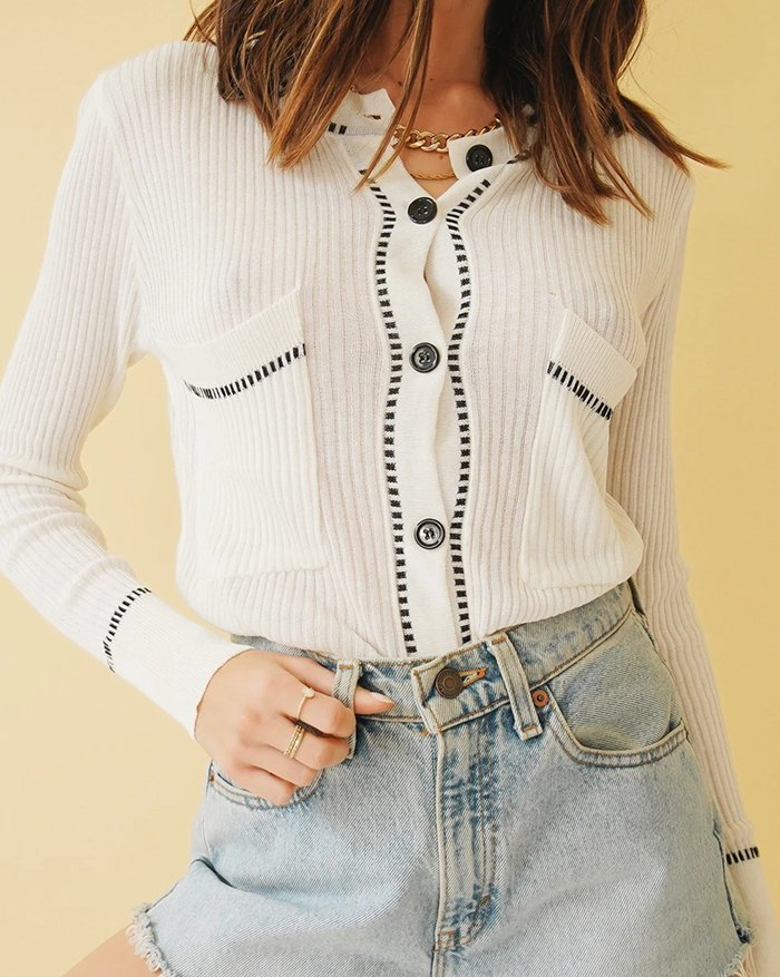 Button Front Chic Knit - White M