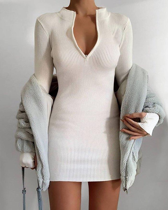 Front Zip Wrap Mini Dress - White M