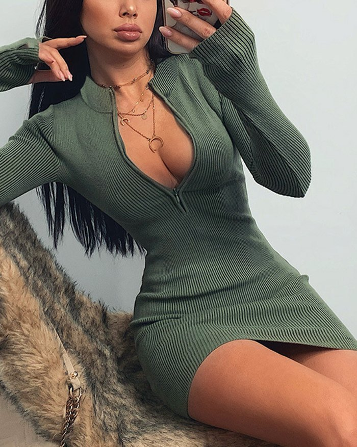Front Zip Wrap Mini Dress - Chive L