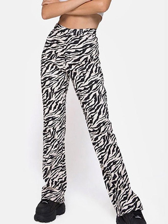 Zebra Print Mopping Straight Pants - multicolorple Colors S