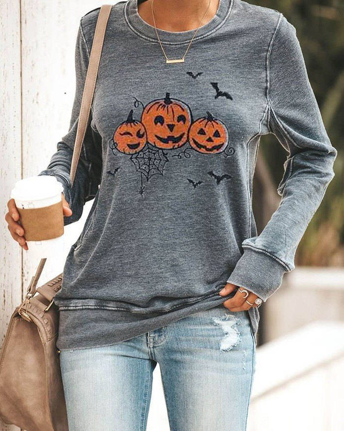 Halloween Pumpkin Print Long Sleeve Sweatshirt - Gray L
