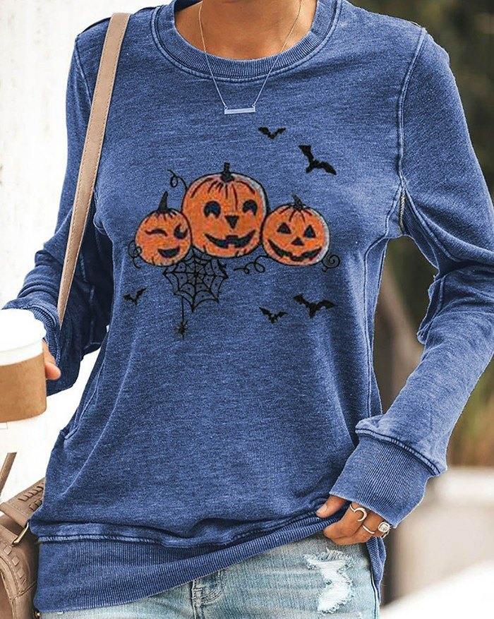 Halloween Pumpkin Print Long Sleeve Sweatshirt - Blue S