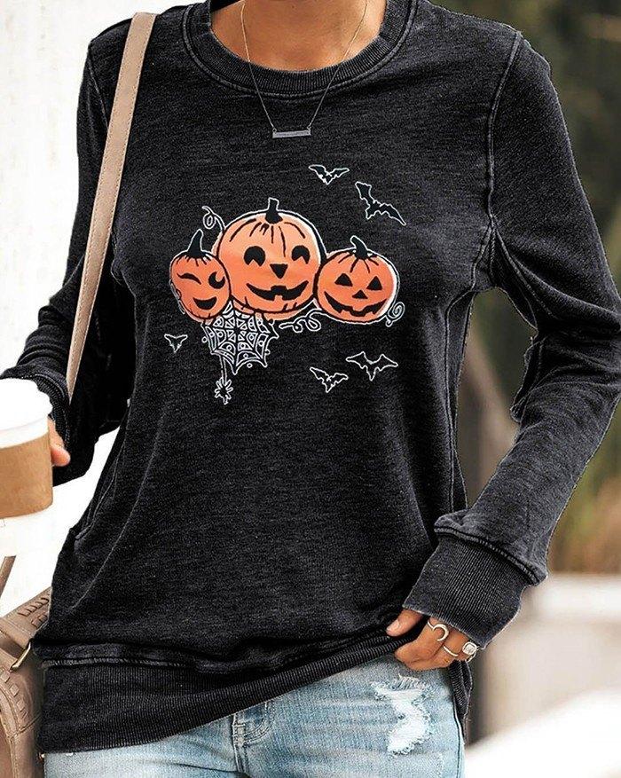 Halloween Pumpkin Print Long Sleeve Sweatshirt - Black XL