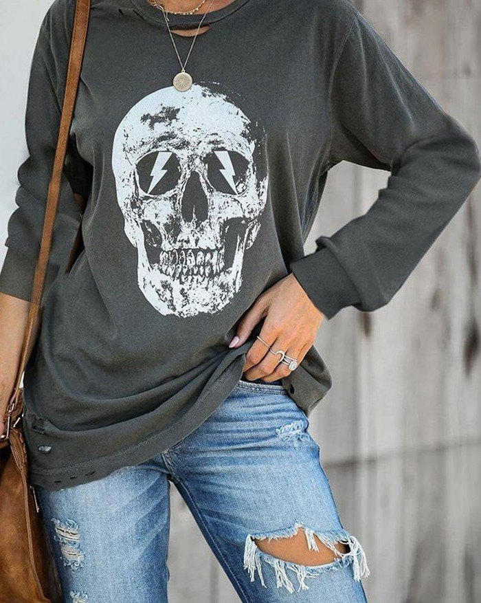 Halloween Skull Print Sweatshirt - Gray S