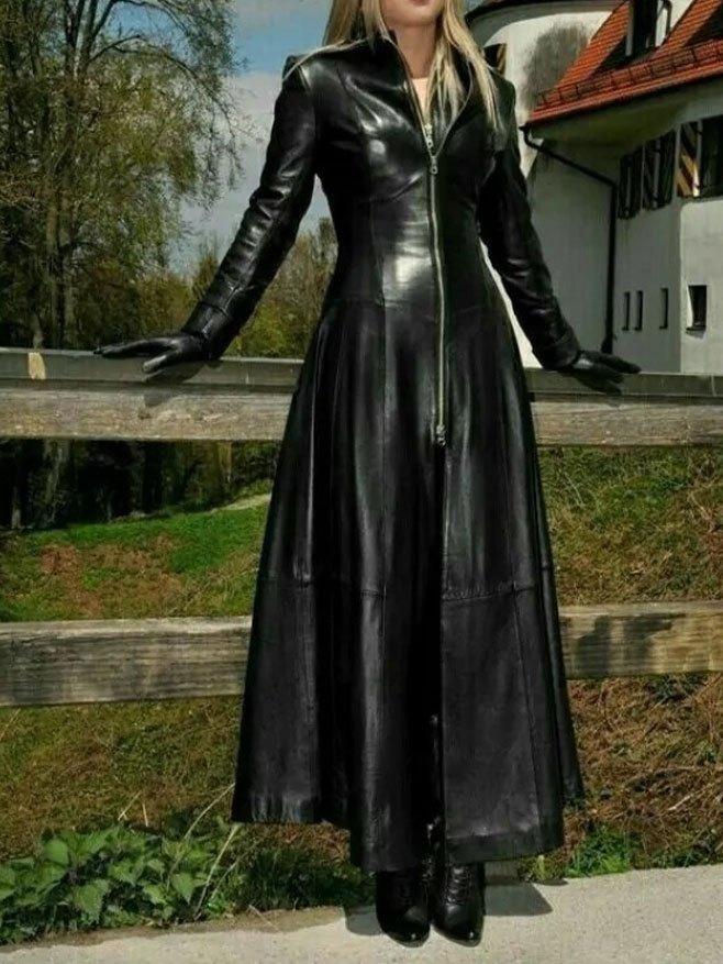 Faux Leather Front Zip Long Coat - Black S