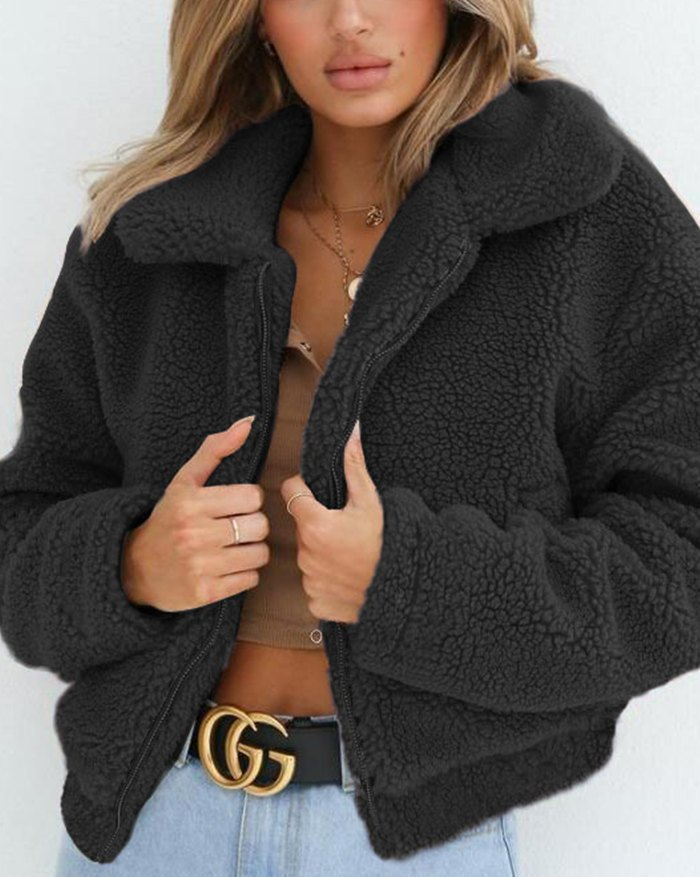 Faux Fur Zip Oversized Jacket - Black M