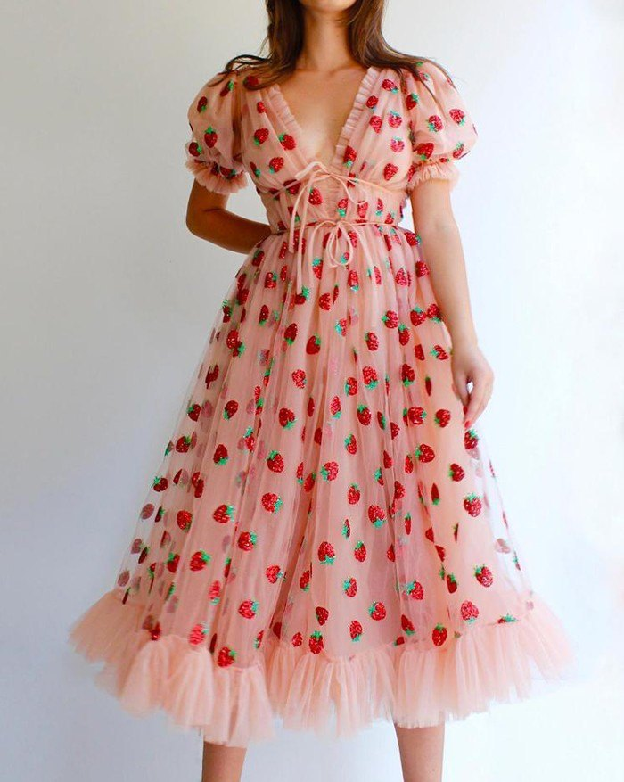 Sequined Strawberry Mesh Pleated Maxi Dress - Pink S