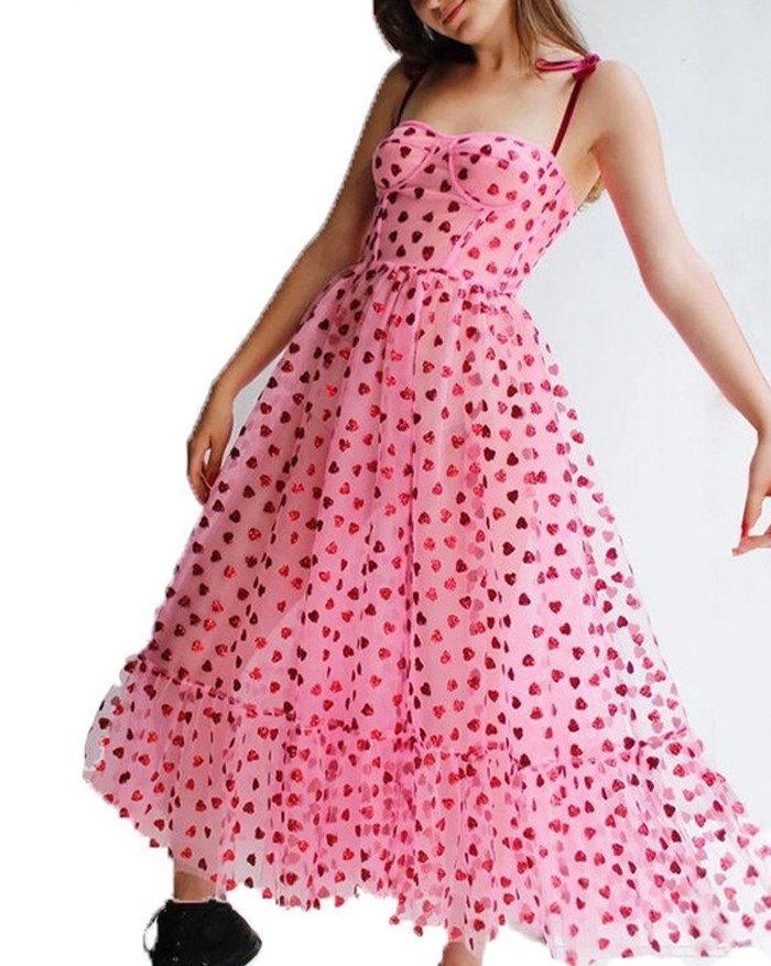 Heart Beaded Mesh Sling Maxi Dress - Pink M