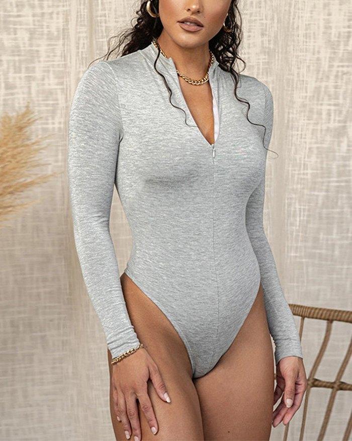 Front Zip Bodysuit - Grey M