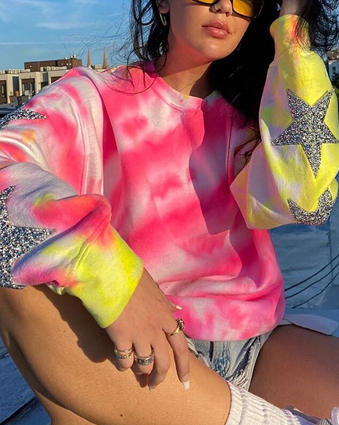 Tie-Dye Sequined Star Panel Sweatshirt - multicolorple Colors S