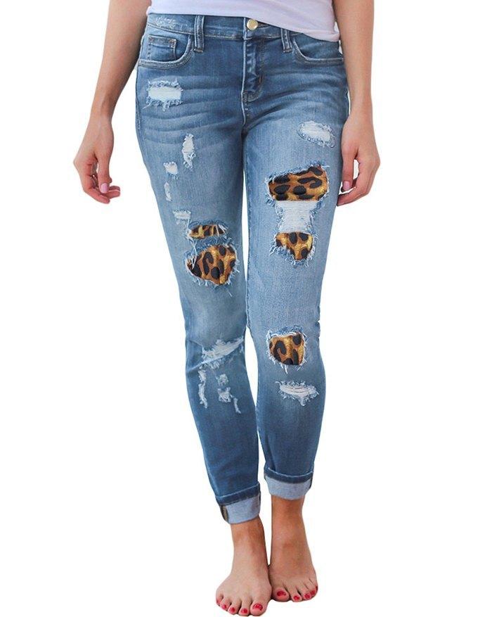 Leopard-Print Ripped Patch Stretch Jeans - Blue L