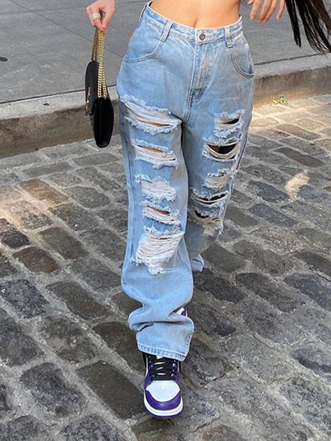 Ripped Loose Jeans - Blue S