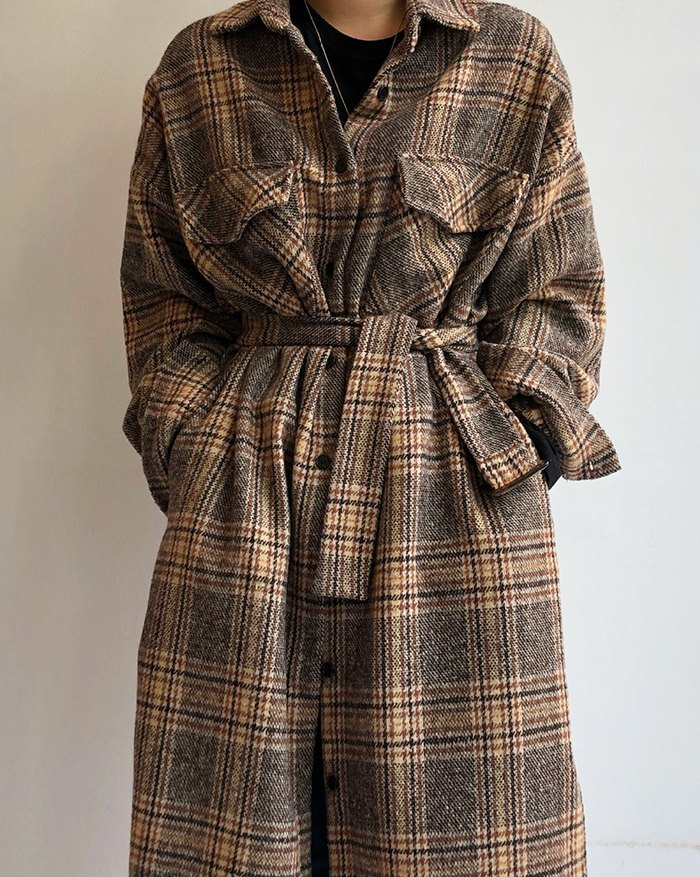 Vintage Contrast Pliad Belted Coat - Coffee ONE SIZE