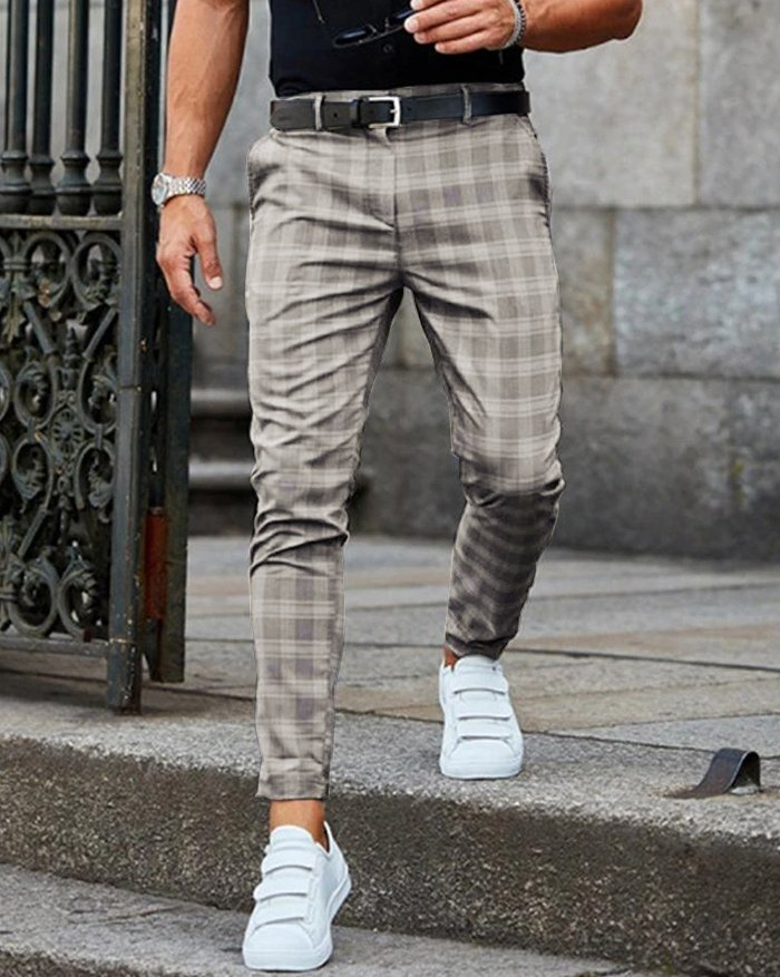 Men' s  Casual Grid Skinny Long Pants - Gray M