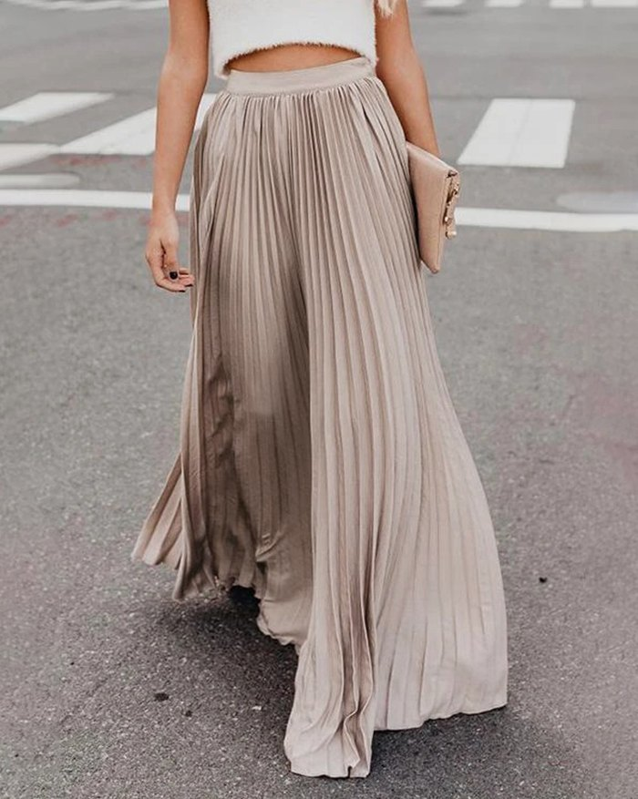 Pleated Billowing Maxi Skirt -