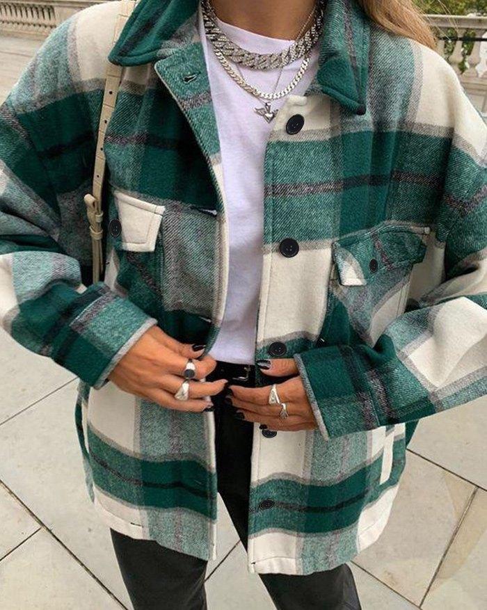 Shacket Vintage Pockets Over-sized Plaid Jacket - Green S