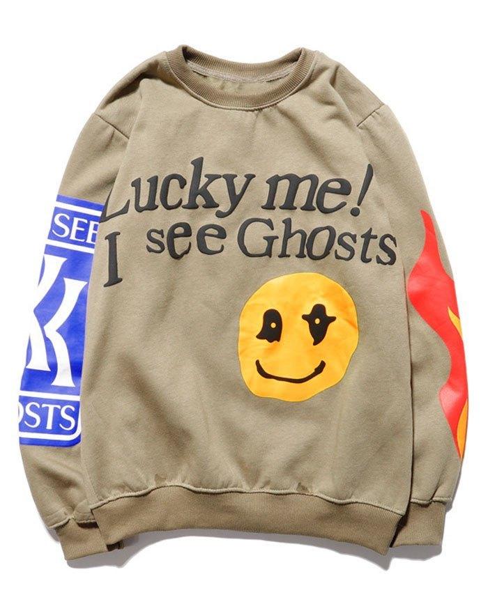 Men's Smiley Letter Printed Sweatshirt -