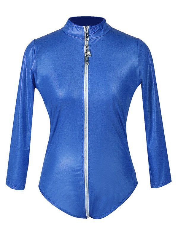 Glossy Patent Leather Zip-up Bodysuit - Blue M