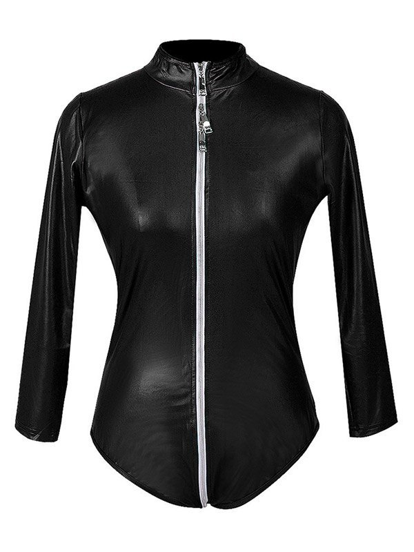 Glossy Patent Leather Zip-up Bodysuit - Black S