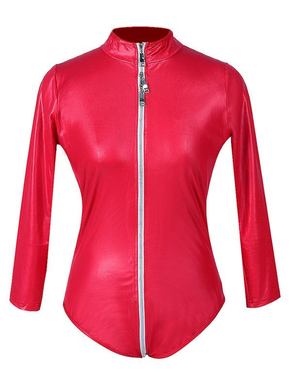 Glossy Patent Leather Zip-up Bodysuit - Red 2XL