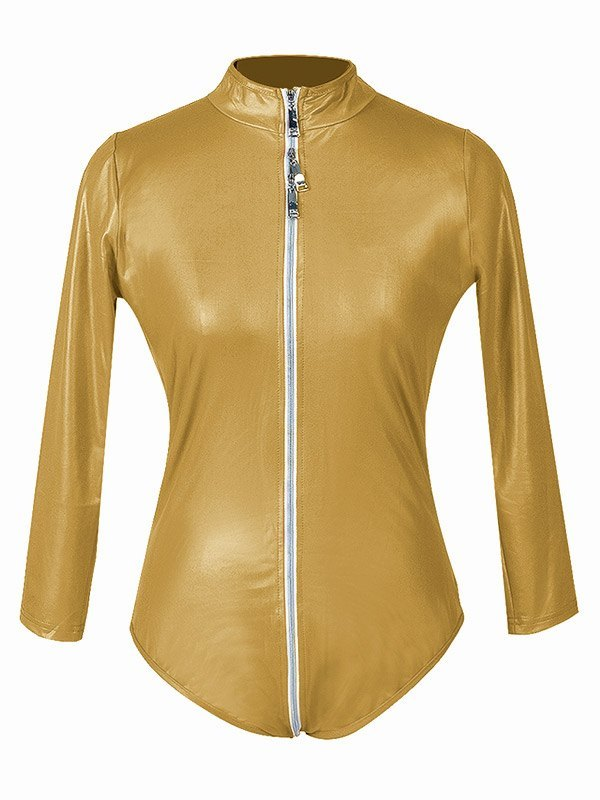 Glossy Patent Leather Zip-up Bodysuit - Golden L