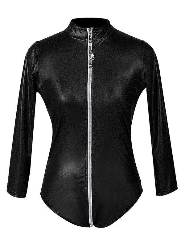 Glossy Patent Leather Zip-up Bodysuit - Black 2XL