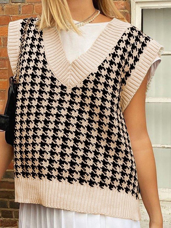 Houndstooth Knitted Vintage Sweater Vest - Black S