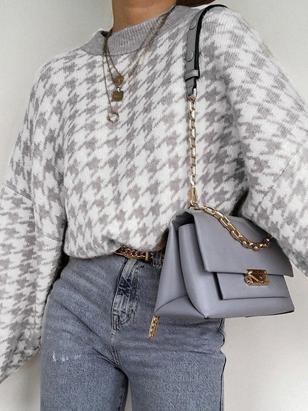 Vintage Houndstooth Pullover Sweater -