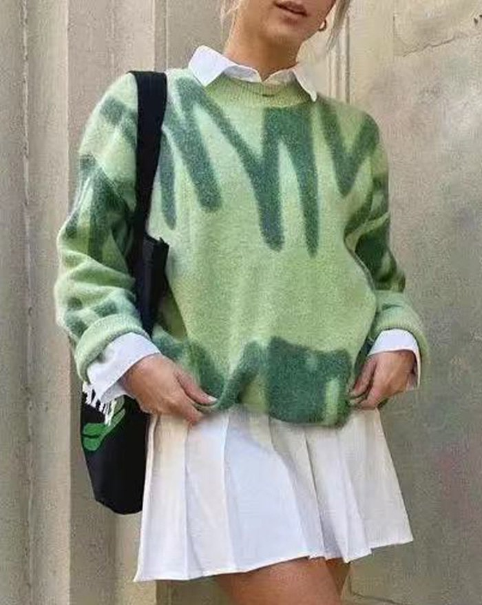 Spray Dye Pullover Sweater -