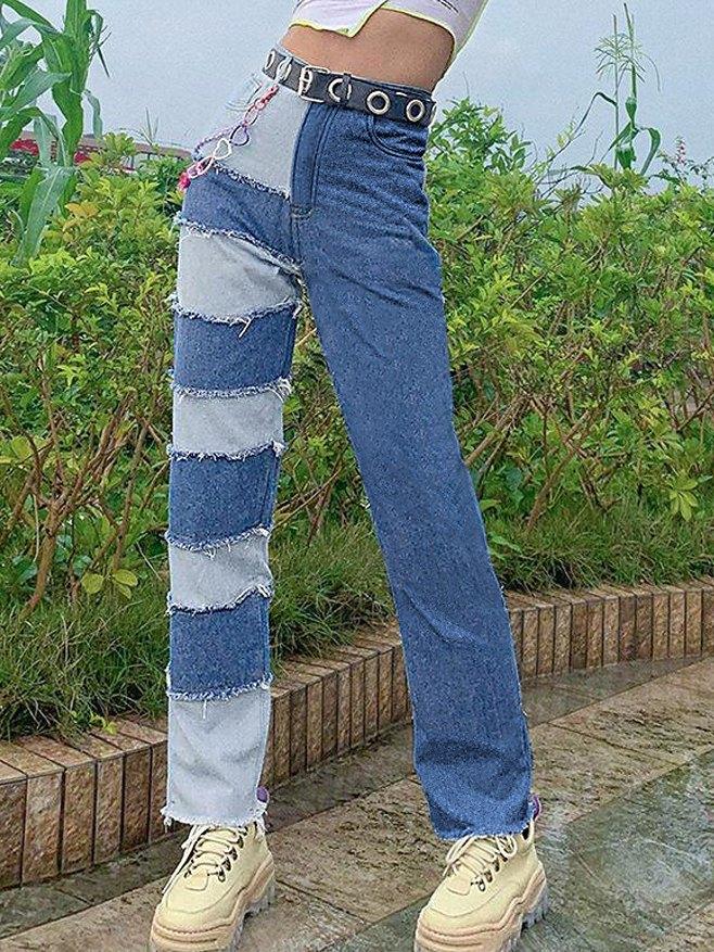 Patchwork And Contrast Panel Denim Boyfriend Jeans -