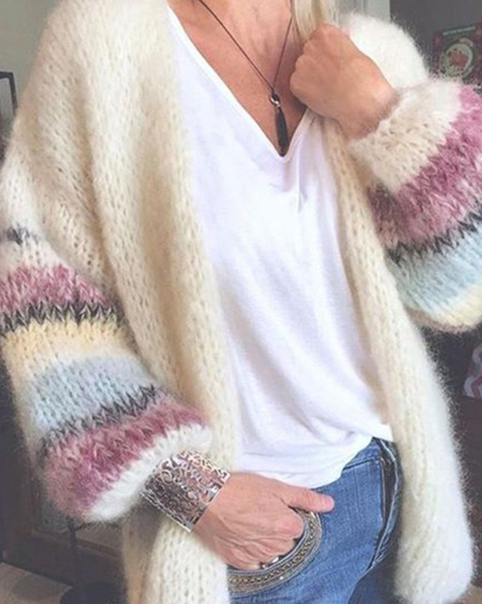 Striped Mohair Knitted Cardigan - Beige M