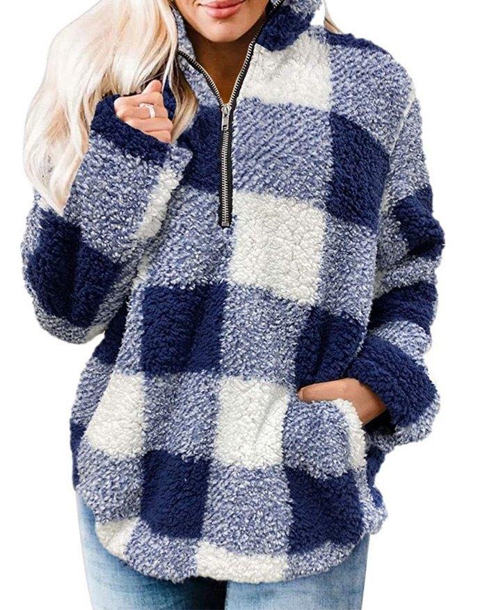 Plaid Zipper Vintage Sweatshirt - Blue XL