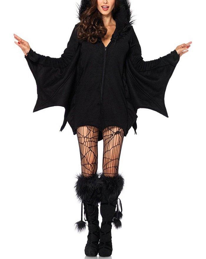 Halloween Hooded Ears Bat Jacket - Black S