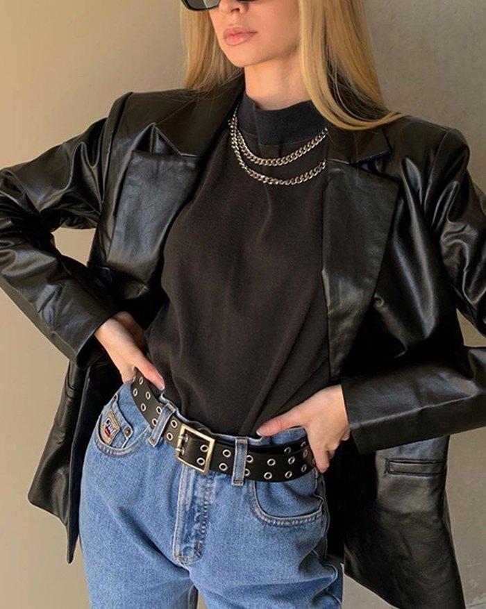 PU Leather Casual Blazer Jacket - Black S