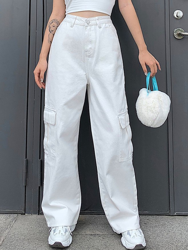 Side Pocket Wide Leg Jeans - White L