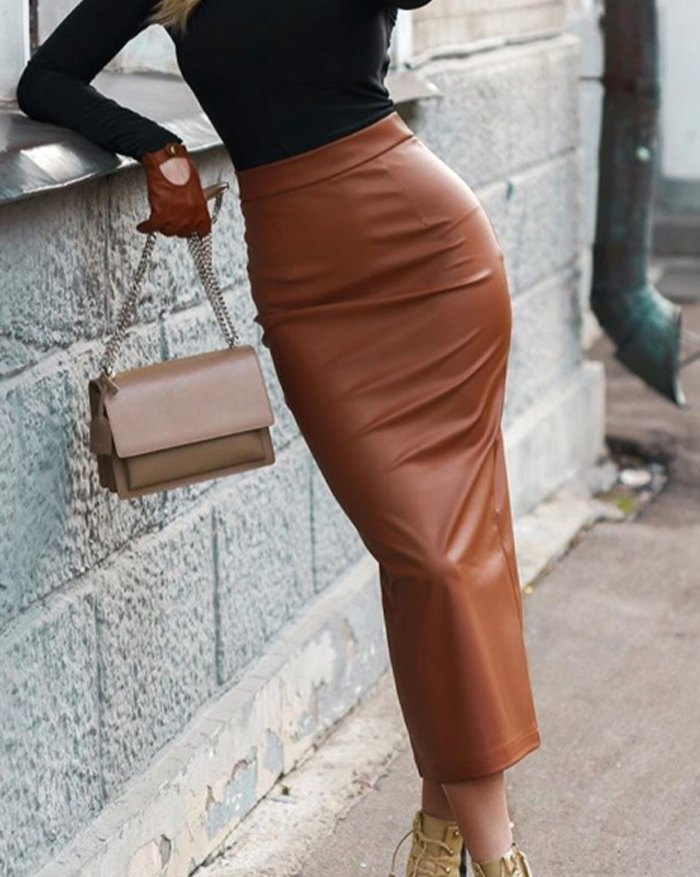 Solid Pencil Bodycon Skirt - Brown S