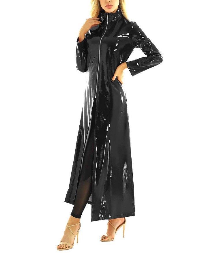 Shiny Metallic Leather Trench Coat - Black M