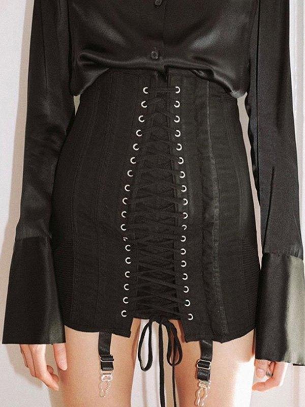 Bandage Wrap Mini Skirt - Black L
