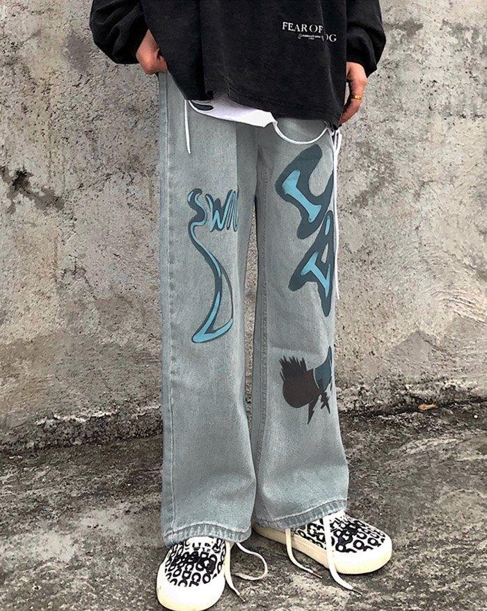 Cowboy Streetwear Hit Color Graffiti Jeans - Blue L