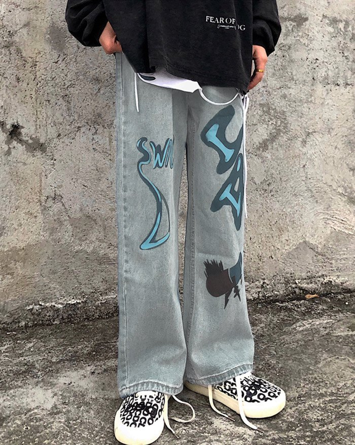 Cowboy Streetwear Hit Color Graffiti Jeans - Blue M