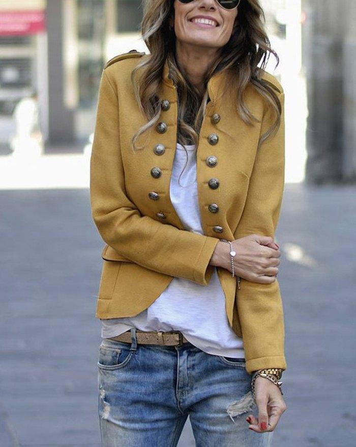 Buttoned Blazer Jacket - Yellow XL
