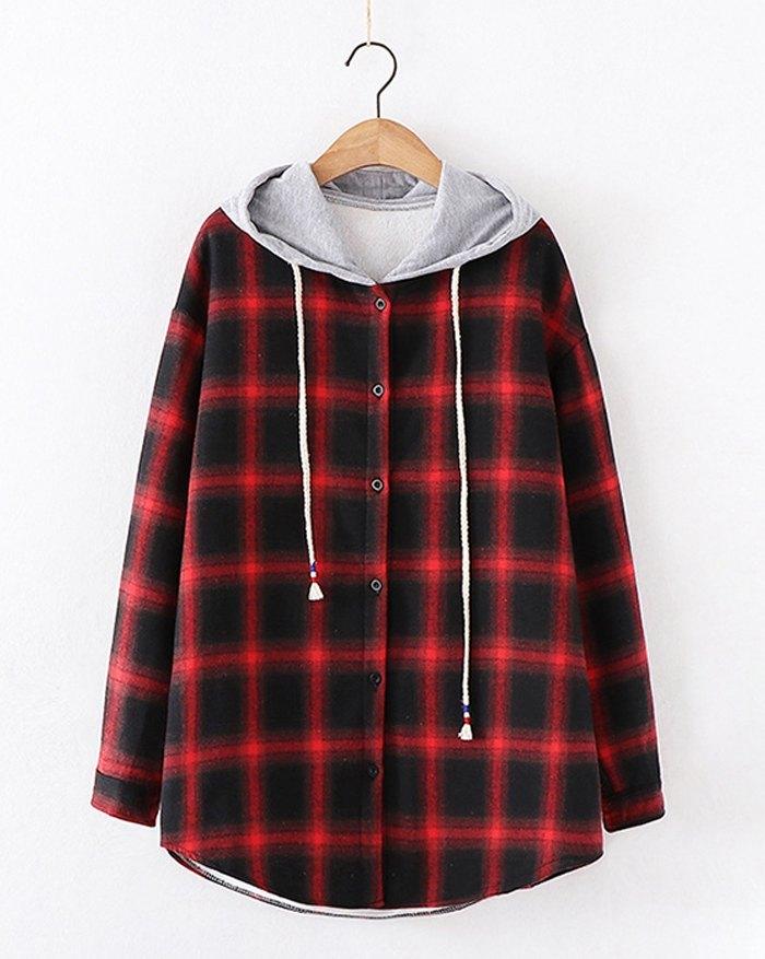 Plaid Plus Fleece Hooded Jacket - Red S