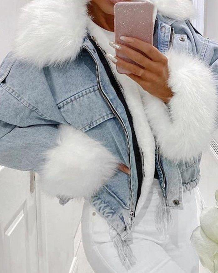 Artificial Fur Trim Denim Jacket - Blue S