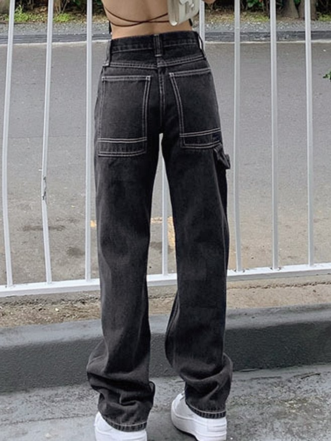 High-rise Mopping Straight Jeans - Gray XL