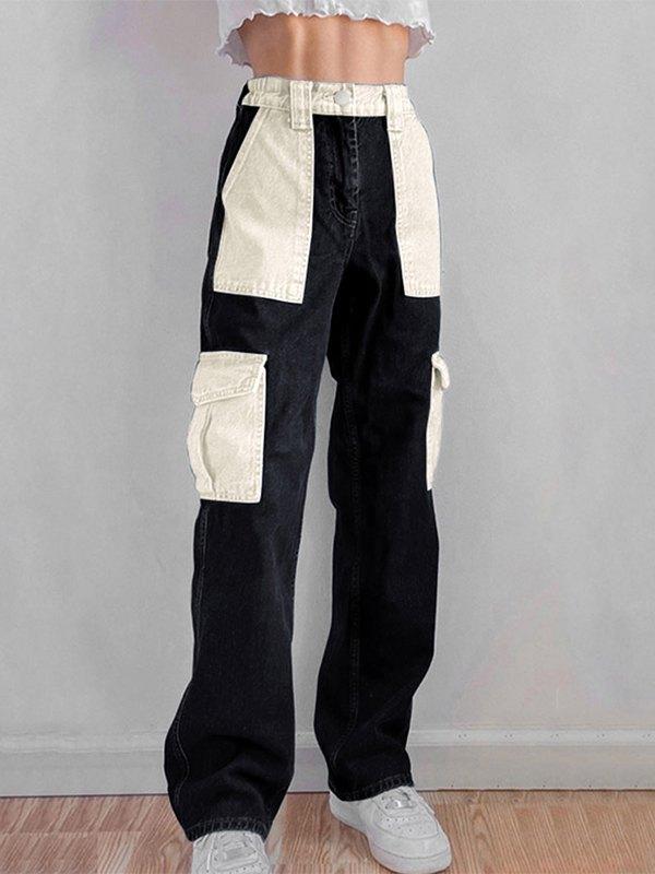 Pocket Stitching Contrast Hip-Hop Jeans - Black S