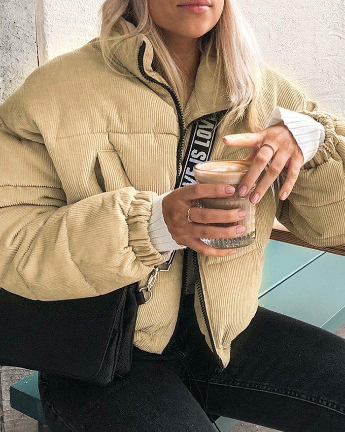 Corduroy Puffer Jacket Cotton-Padded Jacket - Camel M