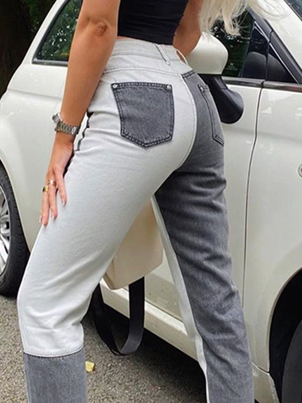Patchwork Skinny Jeans - Black L