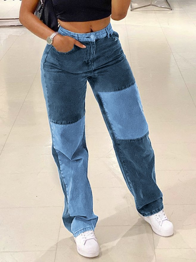 Contrast Patchwork Straight Jeans - Blue L