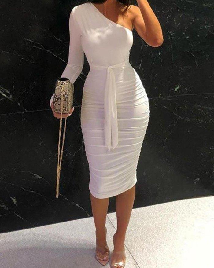 Robe mi-longue moulante froncée - Blanc XL