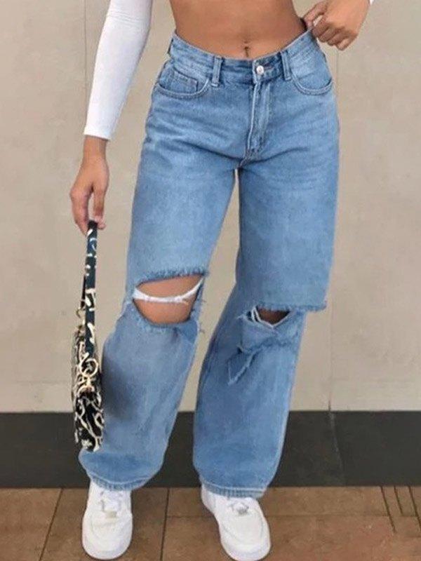 High Waist Ripped Wide Leg Jeans - Blue M